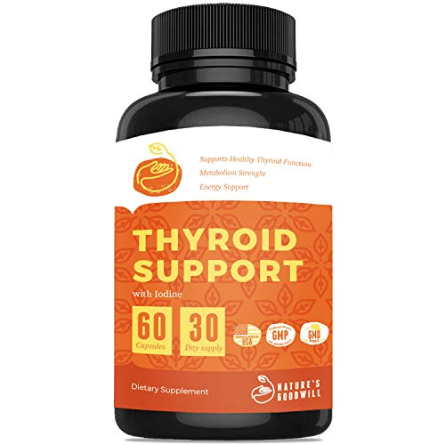 Thyroid Support Supplement with Iodine  Nature Throid Energy Pills, Metabolism Booster for Weight Loss and Focus Formula with Ashwagandha, L-Tyrosine, Magnesium & Selenium  60 Capsules