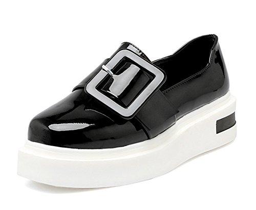 Aisun Donna Casual Punta Tonda Fibbia Cinturino Con Plateau Suola Spessa Slip On Flats Sneakers Scarpe Nere