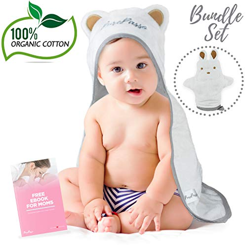 Soft Organic Bamboo Hooded Towel for Babies and Toddlers with Washcloth Glove & Ebook Set - Super Cozy, Plush, Carefully Designed with the best Bath Time experience in mind By QueBébé PurePasso