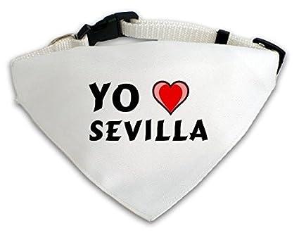 Pañuelo blanco personalizado para perros con Amo Sevilla (nombre de pila/apellido/apodo