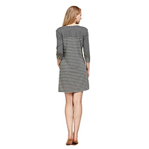 CHUNHUA La Sra manga de la manera rayas de punto modal del camisón chándal pijamas (color opcional) , pink stripes , l white stripes