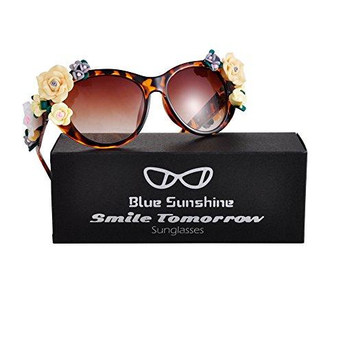 Sunglasses for Women Oversized Cat Eye Glasses Flowers Sunglasses Beach On Vaction UV400 - Sunglasses Shop Latest
