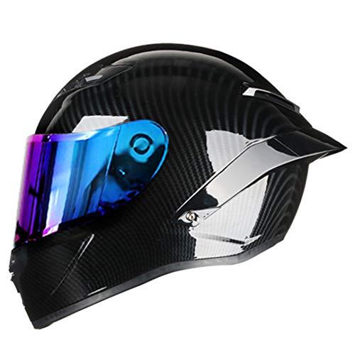 ShenZhiWing Carbon Fiber Full Face Motorcycle Helmet Racing Helmet Motocross Off Road Helmet Rainbow2 L