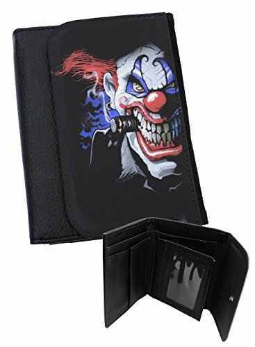 TWISTED CLOWN - Mens Black Faux Leather Bi-Fold Wallet -