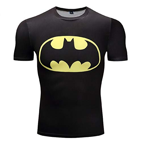 (GYMGALA Batman t Shirt Short Sleeve Casual and Sports Compression Shirt (XX-Large, Yellow))