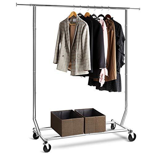 (TomCare Garment Rack Adjustable Clothes Rack Clothing Rack Extensible Clothes Hanging Rack Commercial Grade Garment Rack for Hanging Heavy Duty Stainless Steel Single Clothing Garment Racks on)
