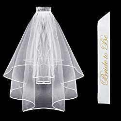 Bride To Be Sash & Bridal Veil with Comb & Ribbon Edge Center Cascade for Bachelorette Party Decoration Supplies, Wedding White