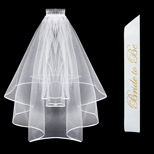 Bride to Be Sash & Bridal Veil with Comb & Ribbon Edge Center Cascade for Bachelorette Party Decoration Supplies, Wedding White (Best Bachelor Party Vegas)