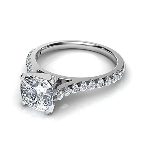 (luxrygold 1Ctw Cushion & Round Clear CZ Diamond 14K White Gold Plated Tall Cathedral Engagement Ring)