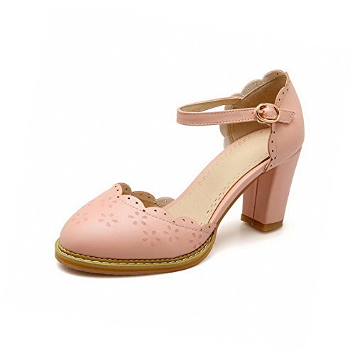 VogueZone009 Women's Buckle Round Closed Toe High-Heels PU Solid Sandals Pink 9sEua