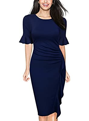 WOOSUNZE Women's Business Retro Ruffles Bell Sleeve Slim Cocktail Pencil Dress