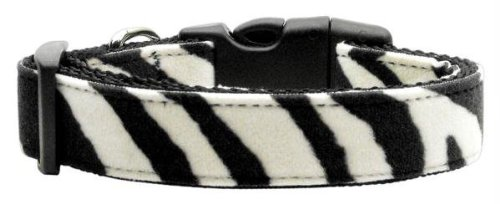 Mirage Pet Products Animal Print Nylon Collars, Medium, Zebra