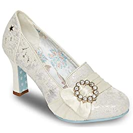 Ladies Womens Court Shoes Slip On Wedding Formal Couture Shoes Size – Ivory – UK 8