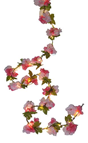 FANStek 2 AA Battery 2.2M Artificial Cherry Blossom Flowers Vine With 20 LED Copper Lights, Cherry Blossom Flower Garland With Lights And Timer (Warm White) (Pink) (Blossoms Pink Light Cherry)