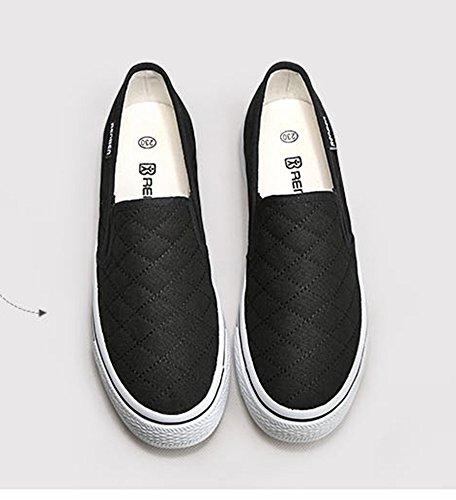 Aisun Frauen Beleg auf Plattform Loafers Canvas Schuhe Turnschuhe Schwarz  ...