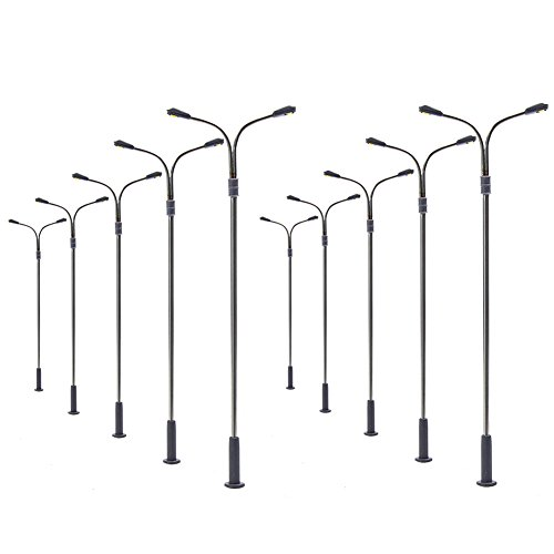 Evemodel LQS13 10pcs Model Railway Train Lamp Post Street Warm White Lights HO OO TT Scale LEDs New
