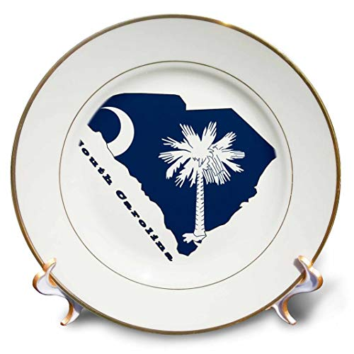 (3dRose cp_58762_1 South Carolina State Flag in The Outline map and Letters for South Carolina-Porcelain Plate, 8