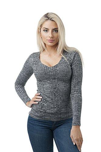 Khanomak Long Sleeve V Neck Ribbed Heathered Knit Sweater Top
