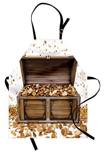Ambesonne Chest Apron, Wealth Themed Gold Coins Kings Ransom Wooden Box Pirate Treasure Picture, Unisex Kitchen Bib with Adjustable Neck for Cooking Gardening, Adult Size, Umber Earth Yellow