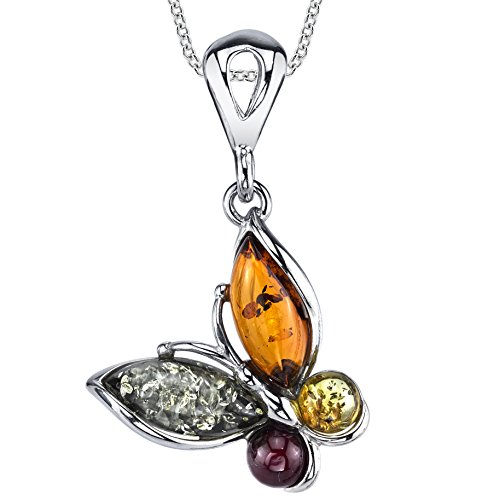 Sterling Silver Baltic Amber Multi Color Butterfly Pendant Necklace 18