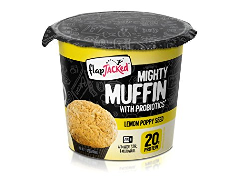 FlapJacked Mighty Muffins, Lemon Poppy Seed, 12 Pack | High Protein (20g) + Probiotics