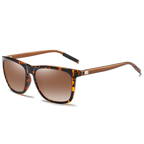 Pro Acme Square Polarized Sunglasses for Men Aluminum Magnesium Temple Brown Lens