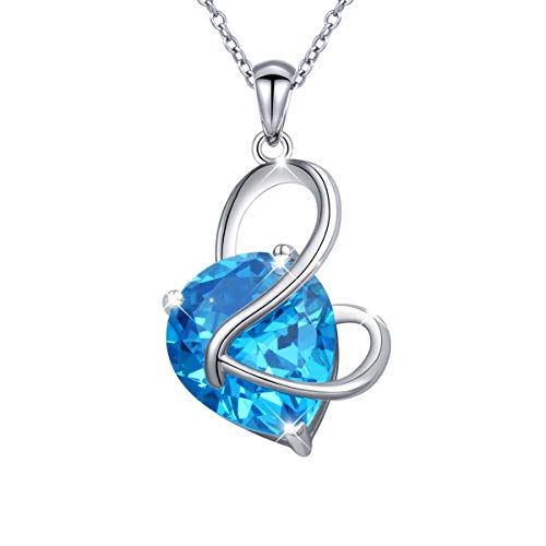 - YinShan Austria Blue Zircon Jewelry 925 Sterling Silver Butterfly Wing Simple Teardrop Dangle Earrings and Necklace (Necklace)