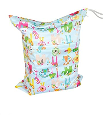 Print Baby Cloth Diaper Waterproof Zippered Wet/Dry Bags, Animals