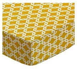 SheetWorld Fitted Cradle Sheet - Mustard Yellow Links - Made In USA by SHEETWORLD.COM