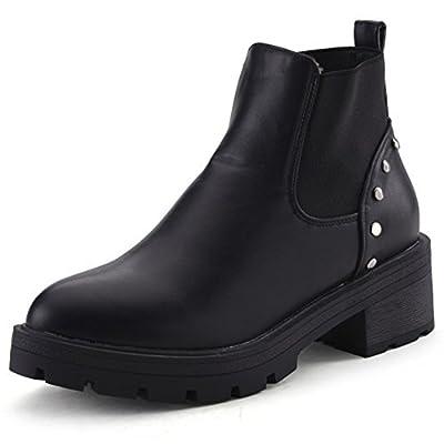 Summerwhisper Women's Trendy Rivets Studded Ankle High Elastic Chunky Low Heel Platform Short Boots Black 7 B(M) US