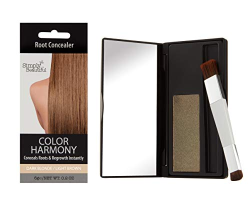 Hair Color Root Touch Up Powder by Color Harmony: Conceals Grey and Dark Roots, Water Resistant Cover-Up; Non-Sticky, Simple to Apply and Mess-Free Root Concealer Mascara (Dark Blonde/Light Brown)