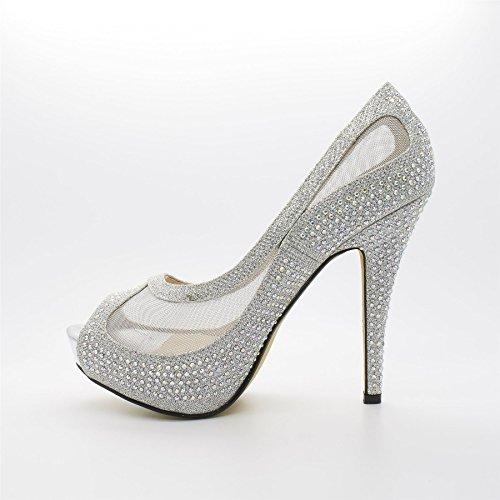 London Footwear Elena, Women's Concealed Platform Peep Toe Court Shoes Silver