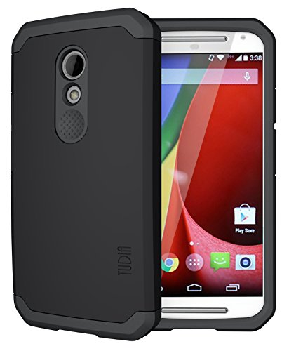 TUDIA Slim-Fit CYGEN Dual Layer Protective Case for Motorola Moto G (2nd Gen 2014 Released ONLY) (Matte Black)