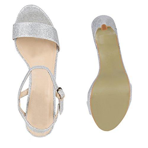 Bernice Flandell Riemchensandaletten High Glitzer Party Silber Optik Metallic Samt Brautschuhe Stiletto Heels Sandaletten Damen Stiefelparadies Elegante Schuhe qH4Uw
