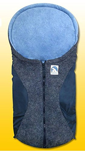 Eisbärchen Kleiner Fußsack Für Babys Außen Marine Grau Innen Hellblau Baby