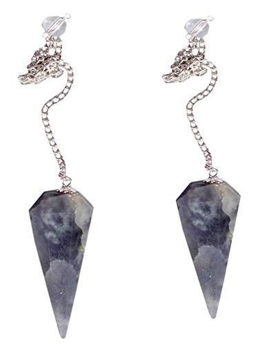Iolite Gemstone Natural Faceted Pendulum Crystal Healing Reiki Gift Wellness Feng Shui Psychic Energy Dowsing Metaphysical Powerful Dowsing