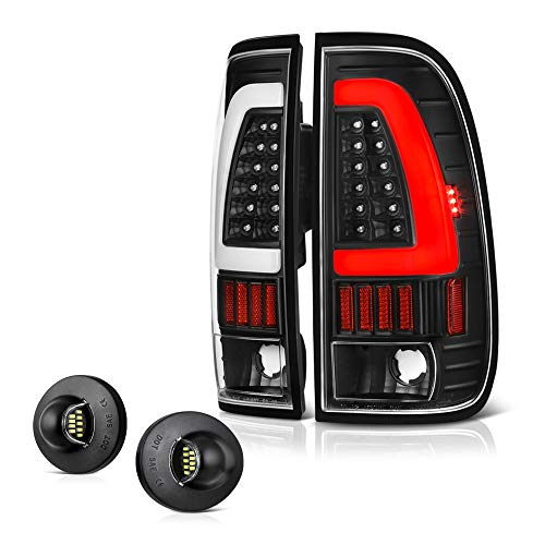 VIPMOTOZ Black Housing Neon Tube Tail Light + LED License Plate Lamp Assembly Replacement Bundle For 1997-2003 Ford F-150 & 1999-2007 F-250 F-350 Superduty Pickup Truck