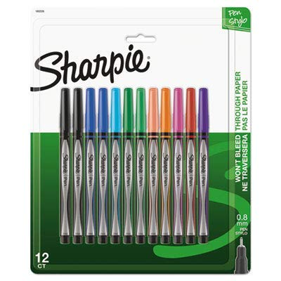 (Sharpie Pens, Fine Point, 0.8 mm, Black/Silver Barrels, Assorted Ink Colors, Pack of 12)