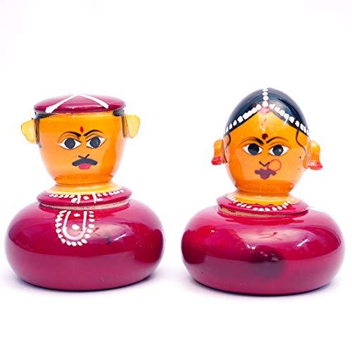 ANDHRA HAND CRAFTS -KONDAPALLI Couple KUM KUM Set HXL 2X2.5 INCHES