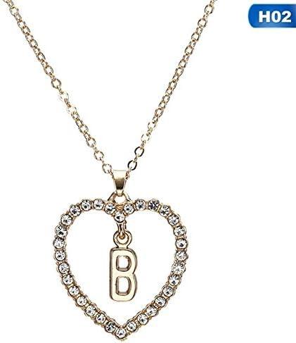 Collar con Colgante de Amor romántico para niñas, Mujeres, Diamantes de imitación, Collar de Letra Inicial, Regalo de San Valentín