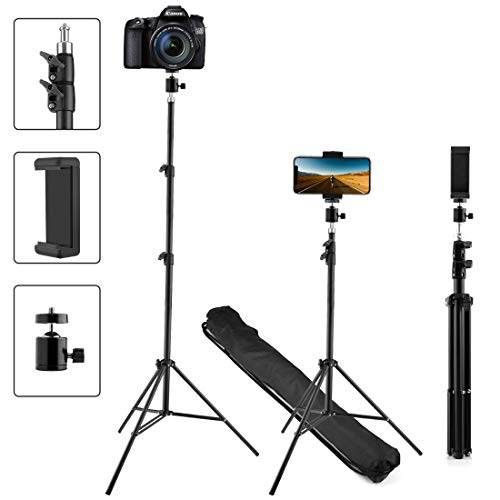 Upgraded Phone Tripod, Extend to 60 Inch Tripod with Cell Phone Holder and 360° Adjustable Ball Head Adapter, Works with Mobile Phones, Lightweight DSLRs, Digital Cameras and Action Cameras (60 - Phone 60