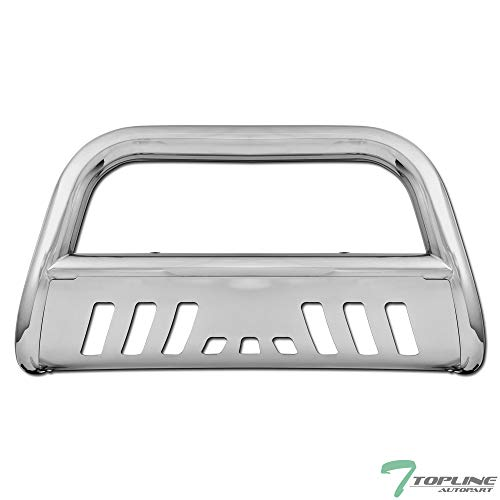 Topline Autopart Polished Stainless Steel Bull Bar Brush Push Front Bumper Grill Grille Guard With Skid Plate For 88-00 Chevy/GMC C10 C/K Truck/Silverado/Suburban/Tahoe/Sierra/Yukon