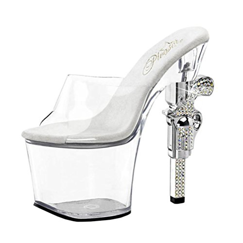 Silver and Clear Ankle Cuff Sandals with Rhinestone and Revolver Shape 7'' Heel Size: 7