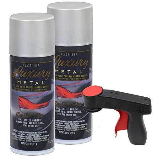 Plasti Dip Luxury Metal Spray, 2-11oz Cans with Cangun Trigger (Satin White ()
