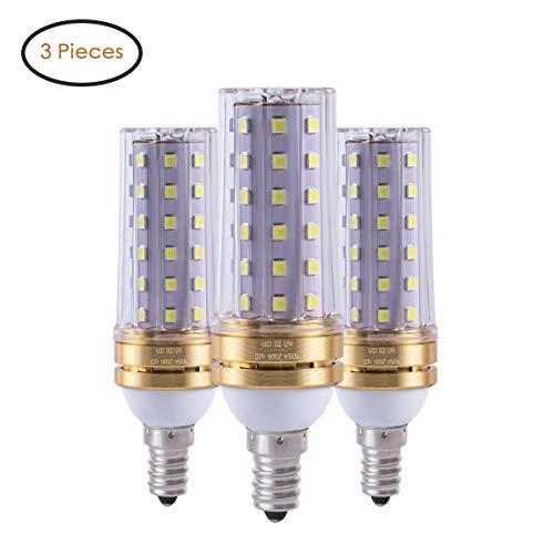 - E12 LED Bulbs, 12W LED Candelabra Light Bulb 80 Watt Equivalent, Decorative Candle Base E12 Non-Dimmable LED Chandelier Bulbs, Daylight White 6500K LED Lamp,900lm, Pack of 3