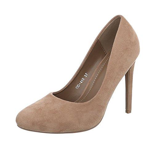Ital-Design High Heel Pumps Damenschuhe High Heel Pumps Pfennig-/Stilettoabsatz High Heels Pumps Hellbraun OD-41