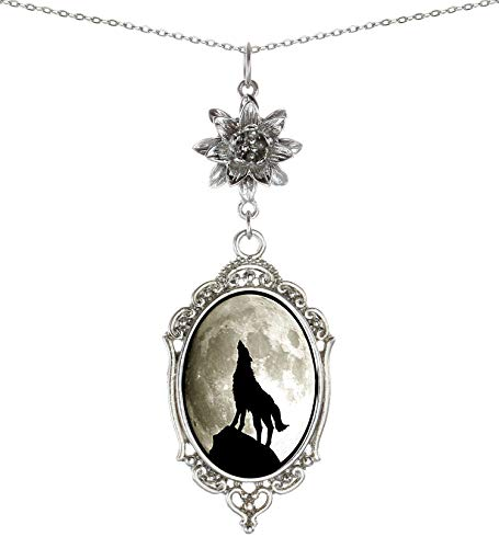 Yspace Lotus Charm Necklace Antique Decor Cameo Pendant 2 Chains Velvet Pouch for Gift (Moon Wolf)