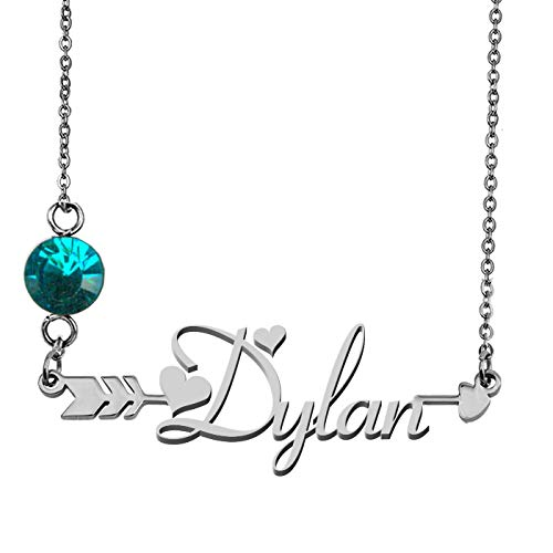 - GR859C Personalized Silver Birthstone Pendant Necklace Dylan