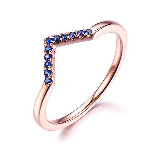 (CZ Diamond Blue Sapphire Wedding Band Chevron V Engagement Ring Solid 14k Rose Gold Matching Band Jewelry)