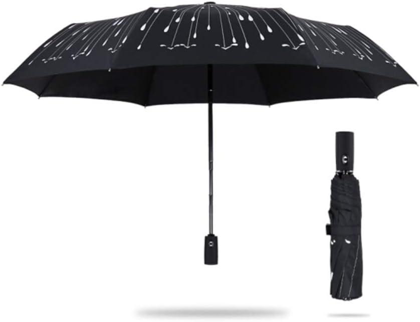 Color : Fully Automatic QQYSD LYX Folding Umbrella / Meteor Oversized Umbrella Three Fold Umbrella / Increase Reinforce Umbrella Men Business Oversized Windproof Folding Umbrella Black